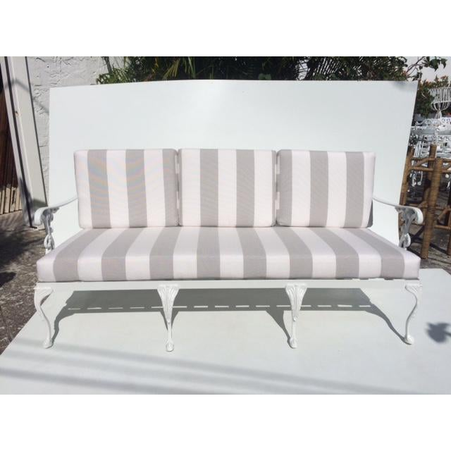 Metal Garden Sofa With Sunbrella Cushions For Sale - Image 12 of 13