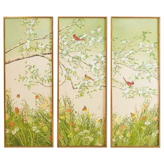 Set of Three Flora and Fauna Chinoiserie Triptych Panels For Sale