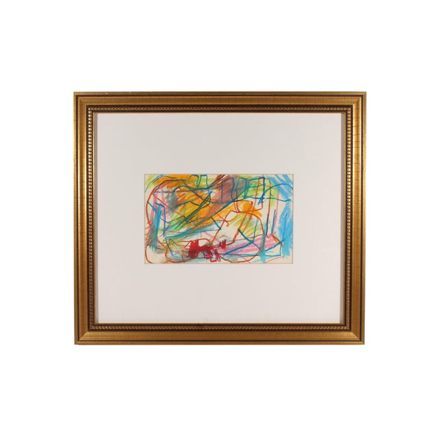 Turquoise Late 20th Century Paul Chidlaw Oil Pastel Abstract Drawing For Sale - Image 8 of 8