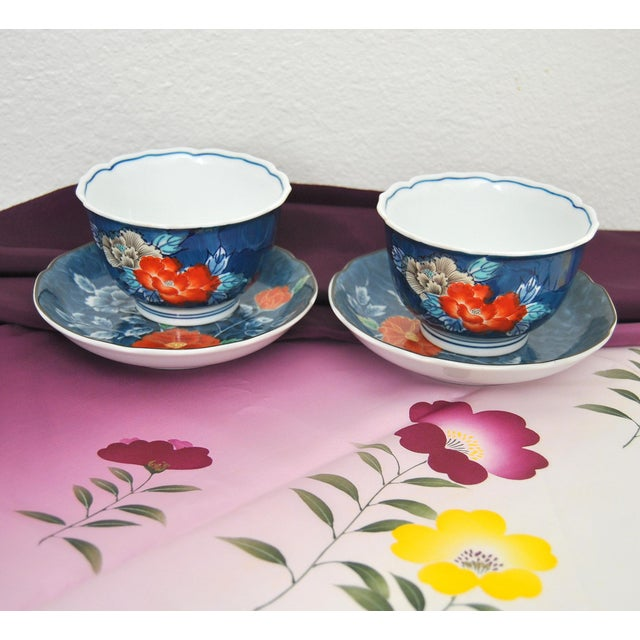 1950s Iro-Nabeshima Imaemon Porcelain Teacups and Saucers Chawan Tea Bowls Overglaze Enamel Multicolor Flowers For Sale - Image 5 of 7