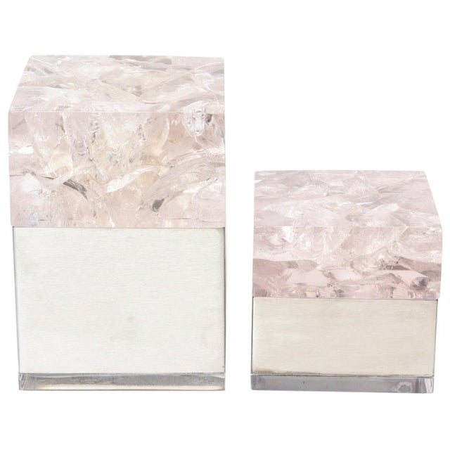 Pierre Giraudon Embedded Lucite and Stainless Steel Boxes-A Pair For Sale - Image 11 of 11