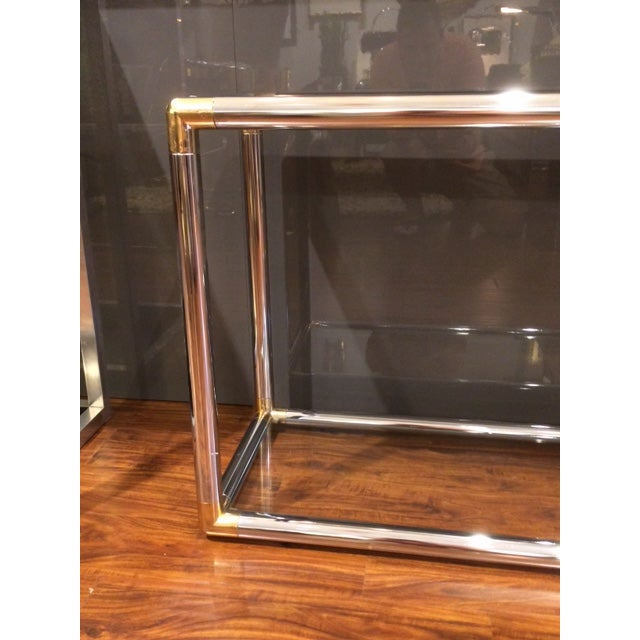 Vintage Chrome and Brass Tubular Console Table For Sale - Image 4 of 4