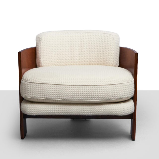 Milo Baughman – Low Club Chair A bent wood club chair with three panel shaped legs by Milo Baughman for Thayer Coggin....