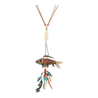 Chinese Articulated Enamel Fish Charm Necklace With Coral For Sale