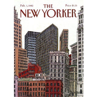 1982 New Yorker Cover, February 1 (Roxie Munro), Architecture, City Life For Sale