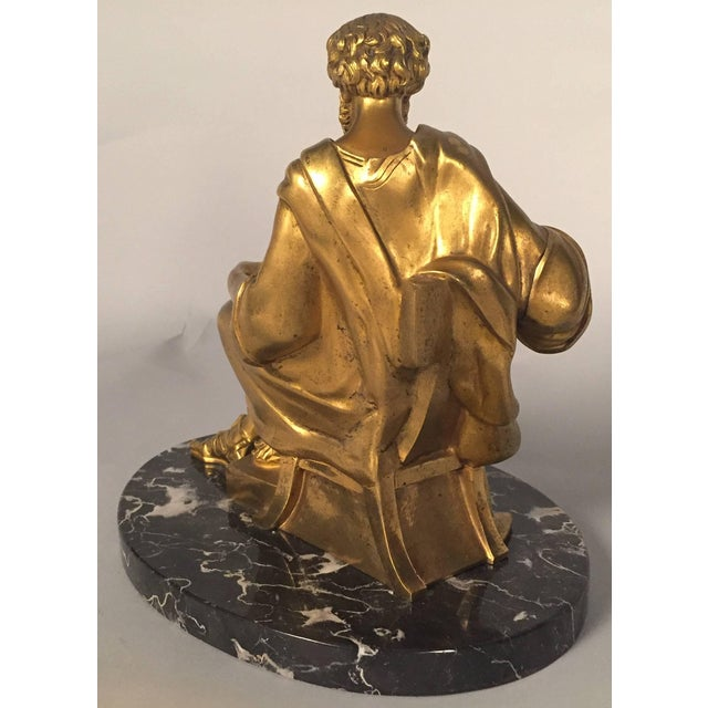 Neoclassical Classical Figure of a Philosopher, French, Gilt Bronze For Sale - Image 3 of 5