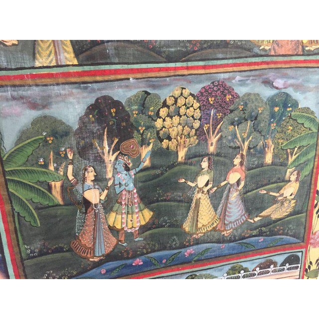 Asian Large Colorful Pichhavai Silk Asian Painting With Krishna and Female Gopis For Sale - Image 3 of 11
