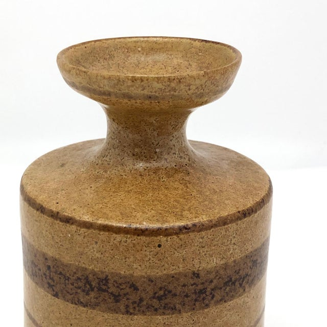 Mid-Century Pottery Craft California Brown on Brown Stoneware Bud Vase For Sale - Image 9 of 13