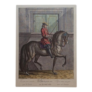 18th Century French Dressage Engraving Color Print - Equestrian