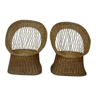 Vintage Mid-Century Rattan Chauffeuses - a Pair For Sale