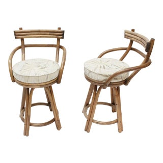 Mid-Century Modern Rattan Bamboo Swivel Bar Stools - Set of 2 For Sale