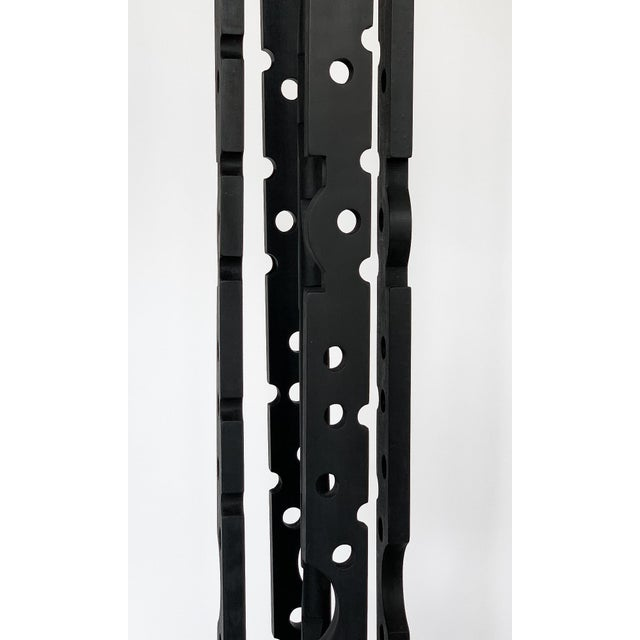 Mid-Century Modern Black Painted Wood Assemblage Floor Lamp For Sale - Image 11 of 13