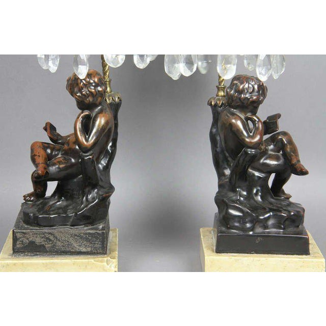 Regency Cast Metal, Bronze And Cut Glass Candlesticks For Sale In Boston - Image 6 of 9