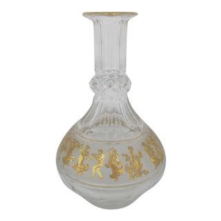 Clear Cut Glass Decanter Pitcher W/Mythological Gold Gilt Greek Gods Design For Sale