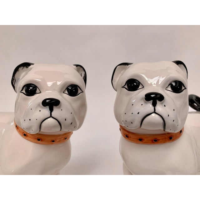 1950s Large Italian Ceramic Pug Puppy Dog Figures - a Pair For Sale - Image 5 of 12
