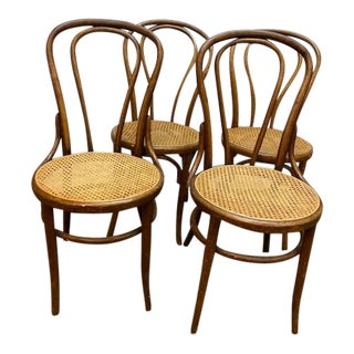 1940s Four Bentwood Cane Chairs - Set of 4 For Sale