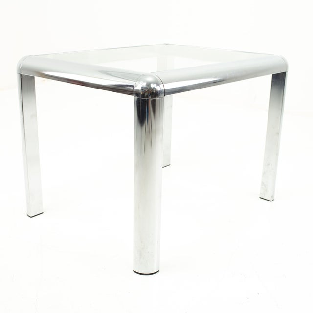 Chrome Milo Baughman Style Mid Century Chrome and Glass Side End Table For Sale - Image 8 of 10