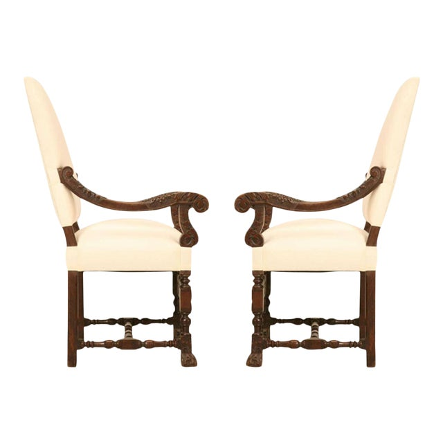 Hand-Carved French White Oak Throne Chairs - A Pair - Image 1 of 11