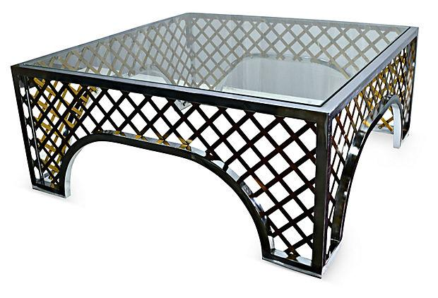 Gold Tone Lattice Motif Coffee Table For Sale In Miami   Image 6 Of 6