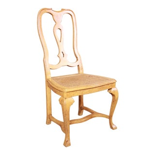 Baker Furniture French Provincial Louis XV White Oak and Cane Dining or Side Chair For Sale