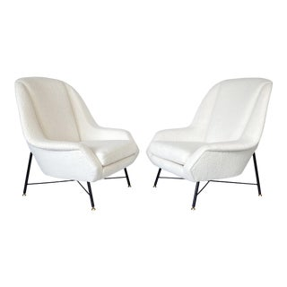 Pair of Isa Bergamo Lounge Chairs in Italian Boucle For Sale