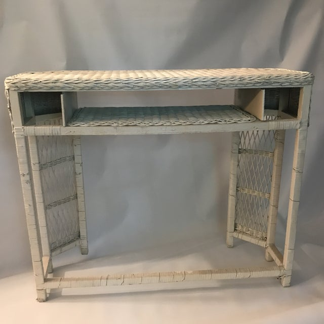 White Wicker Console or Dressing Table For Sale - Image 9 of 13