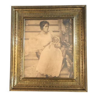 Victorian Large Brass Frame With Mourning Photo For Sale