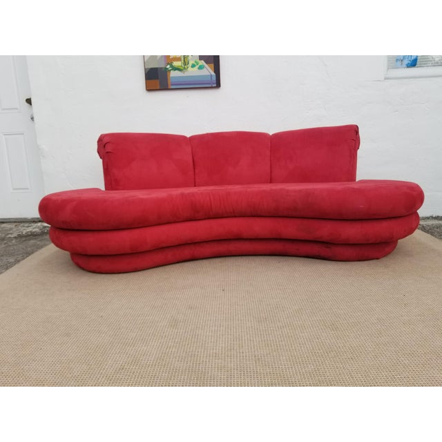 1980s Mid-Century Modern Adrian Pearsall for Comfort Red Curved Sofa ...