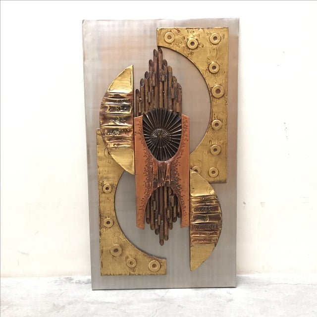1970s Brutalist Mixed Metal Wall Art Sculpture - Image 10 of 10