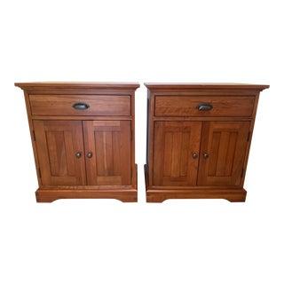 Restoration Hardware Michaels Furniture Cherry Marson Nightstands - a Pair For Sale