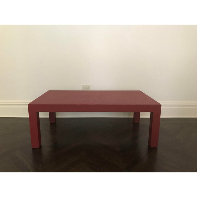 Red Lacquer Painted Parson's Style Coffee Table - Image 2 of 5