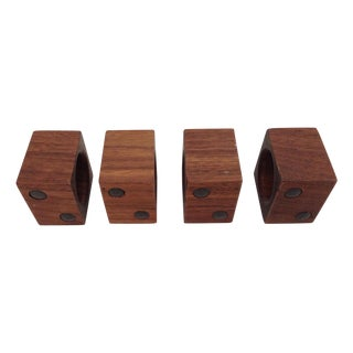 Mid-Century Wood Square Napkin Holders - Set of 4 For Sale