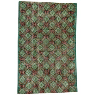 Vintage Mid-Century Turkish Zeki Muren Distressed Rug - 3′10″ × 6′ For Sale