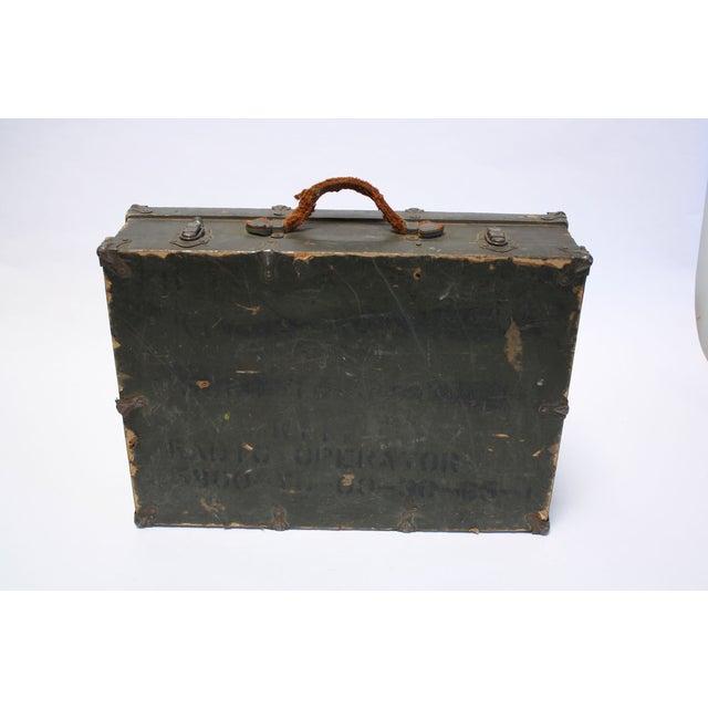 Vintage Army Green Radio Box Leather Handle - Image 2 of 7