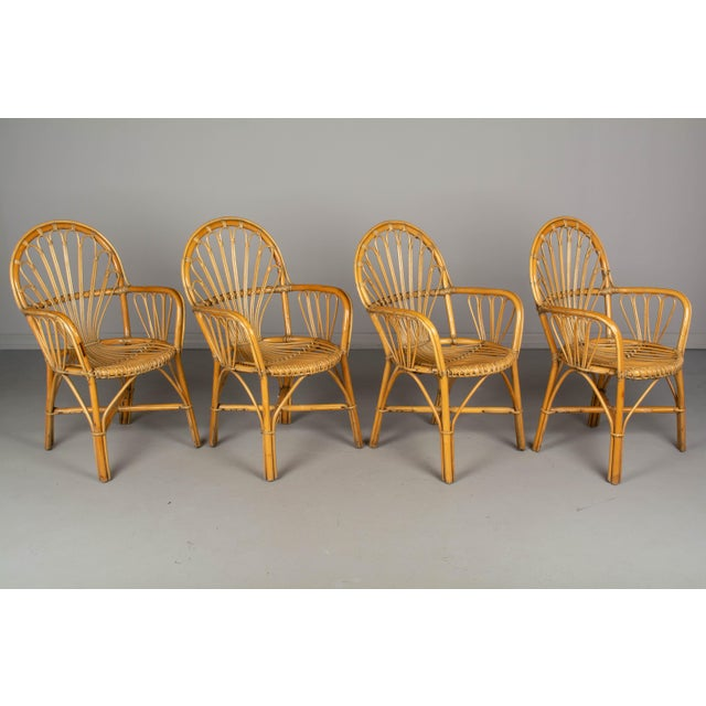 French Bamboo & Rattan Dining Chairs- Set of 4 For Sale - Image 11 of 11