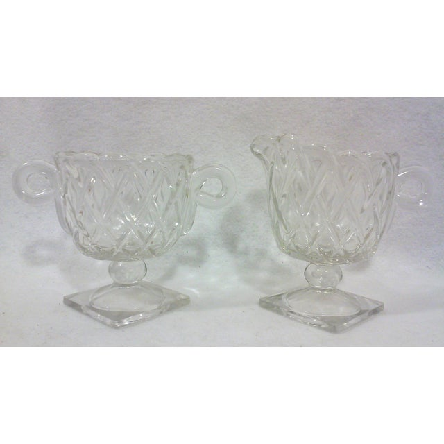 Deco Glass Footed Creamer & Sugar Bowls - A Pair - Image 2 of 4