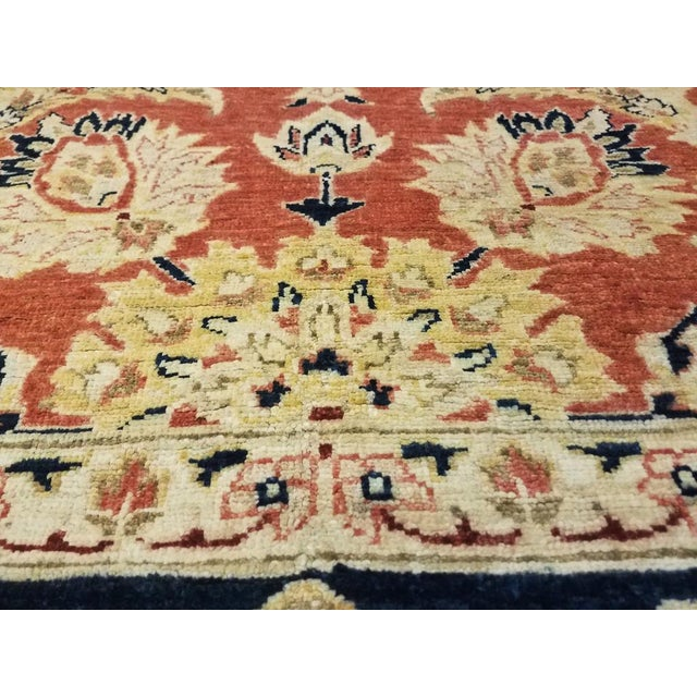 "Textile Kafkaz Peshawar Risa Orange Blue Wool Rug - 9'2"" x 11'10"" For Sale - Image 7 of 8"