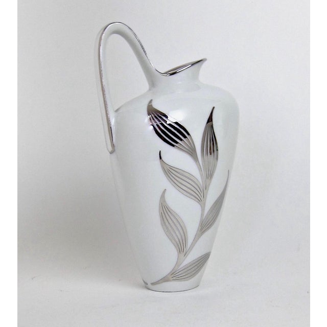 White 1960s Mid-Century White Porcelain Pitcher With Silver Metal Overlay For Sale - Image 8 of 8