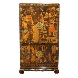 Late 20th Century Vintage Henredon Furniture Chinoiserie Media Armoire For Sale
