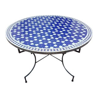 Moroccan Mosaic Blue / White Rafraf Coffee Table For Sale