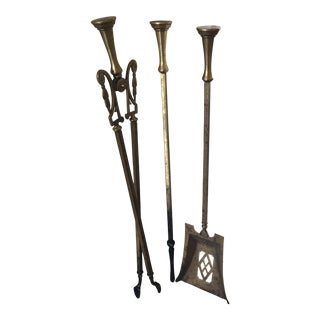 Solid Brass Antique English Fireplace Tools - Set of 3