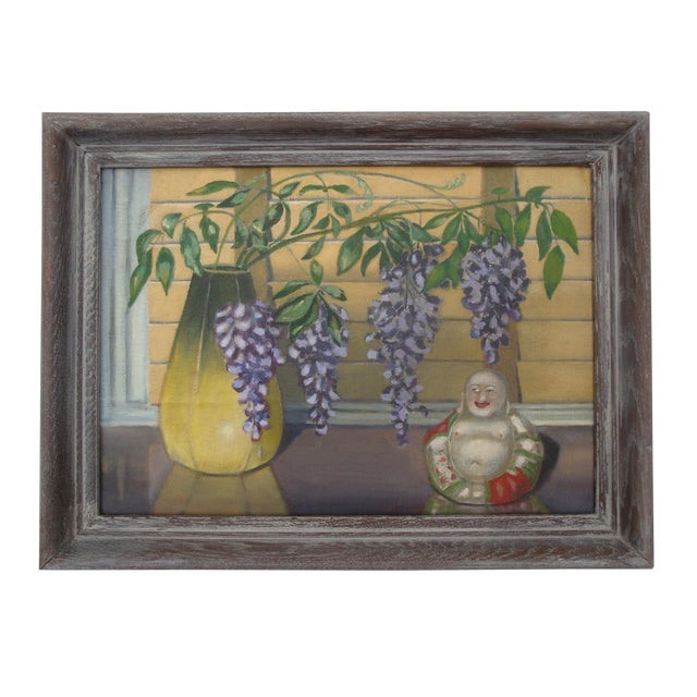 Chinoiserie Still Life Painting 1946 Buddha and Wisteria Flowers For Sale