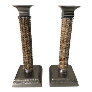 Pewter & Rattan Candleholders, Pair For Sale