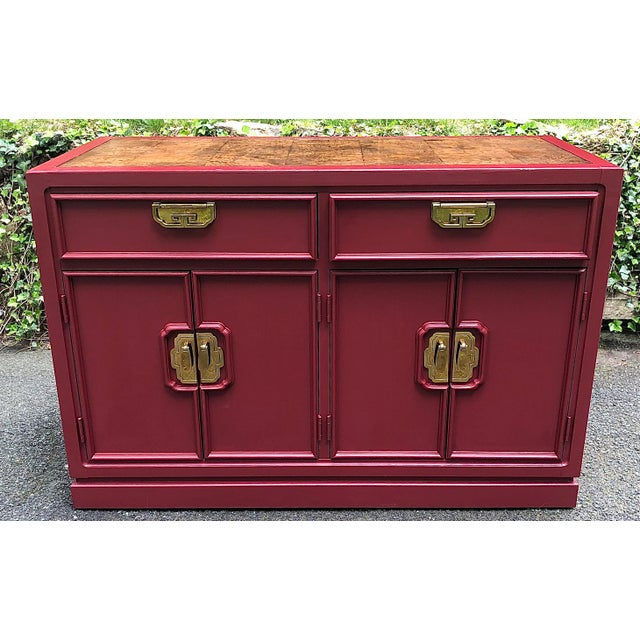 Thomasville Mystique Burl Top Cranberry Red Server For Sale - Image 10 of 10