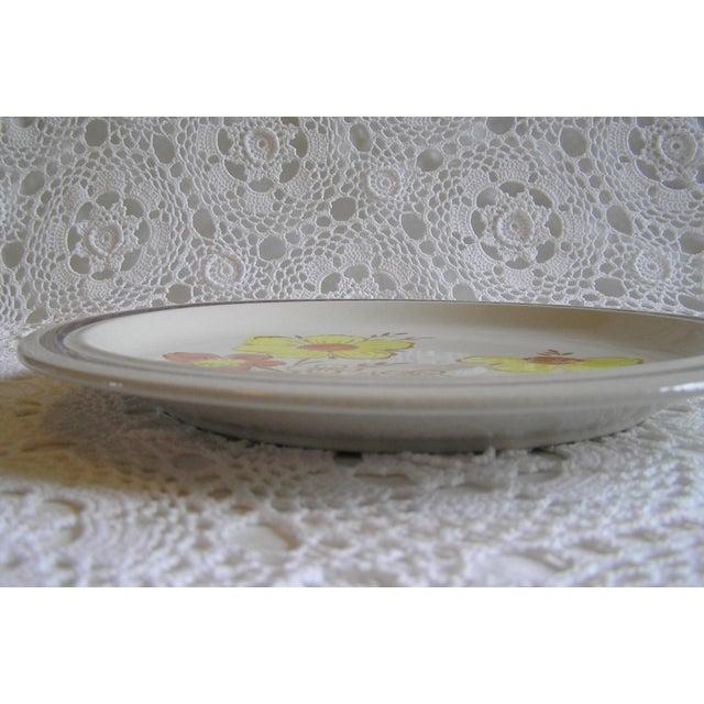 Asian 1970s Vintage Japan Stoneware Floral Serving Platter For Sale - Image 3 of 5