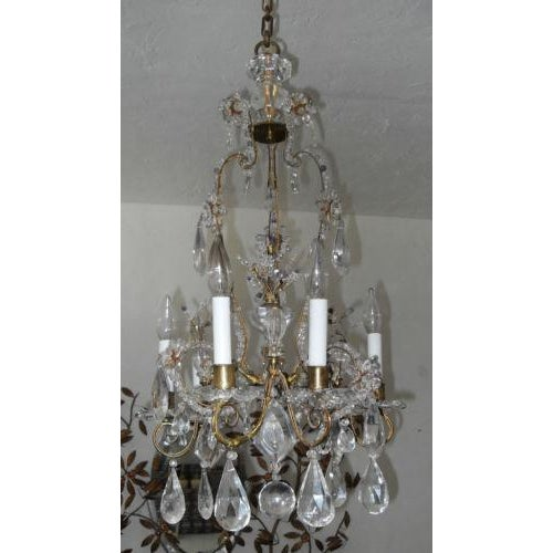 Rare Maison Bagues authentic French 19thc. totally adorned all original rock crystal Chandelier in the Louis XV style....