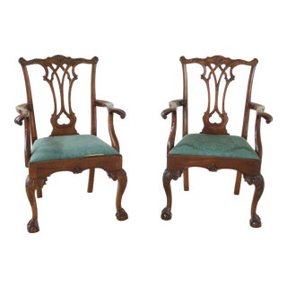 Stickley Ball & Claw Carved Mahogany Arm Chairs - a Pair For Sale