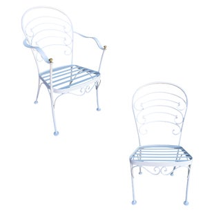 "Woodard ""Ribcage"" Patio/Outdoor Lounge Chair W/ Brass Accent, Set of Two For Sale"