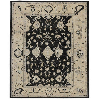 Turkish Oushak Area Rug With Hollywood Regency Style - 10′2″ × 12′6″ For Sale