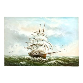 1960s Vintage Rupert Hydan Colonial Ship on the Sea Oil Painting For Sale
